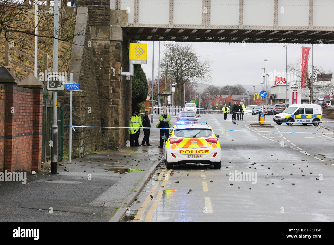 newbold, rochdale, uk. 2nd mar, 2017. incident on the metro link