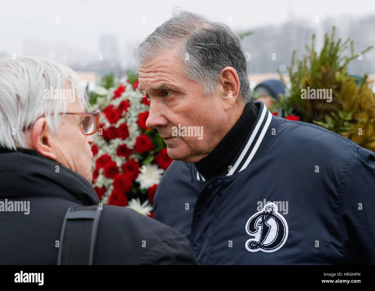 Moscow Region, Russia. 2nd Mar, 2017. Retired ice hockey player Stanislav Petukhov (R) at the funeral of ice hockey - Stock Image