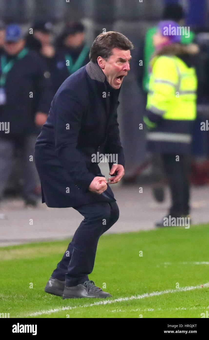 Gladbach S Manager Dieter Hecking Gives Instructions From The Stock Photo Alamy
