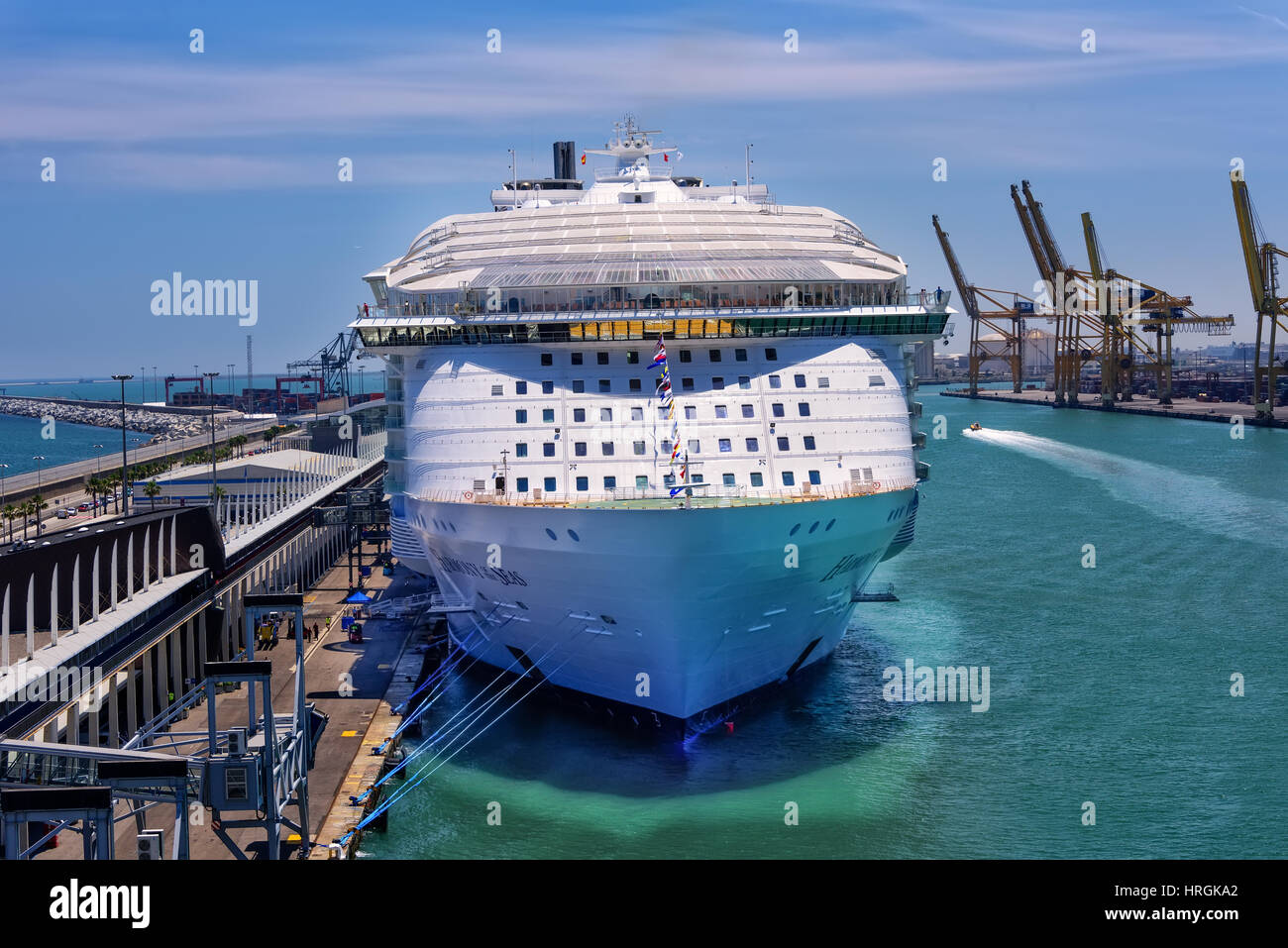 Barcelona, Spain - June 7, 2016:  Royal Caribbean's, Harmony of the Seas, is now the largest ship in the world, - Stock Image