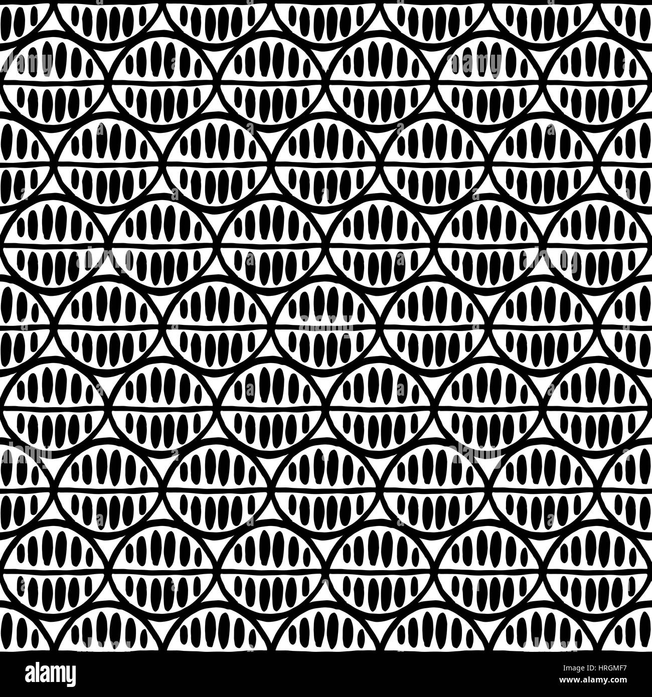 Seamless floral pattern with primitive leaves. Tribal ethnic background, simplistic geometry, black and white. Textile - Stock Image