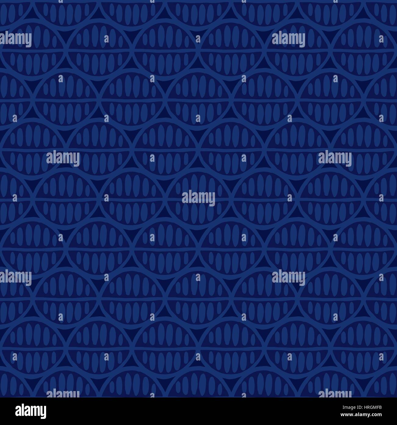 Seamless floral pattern with primitive leaves. Tribal ethnic background, simplistic geometry, indigo tones. Textile - Stock Image