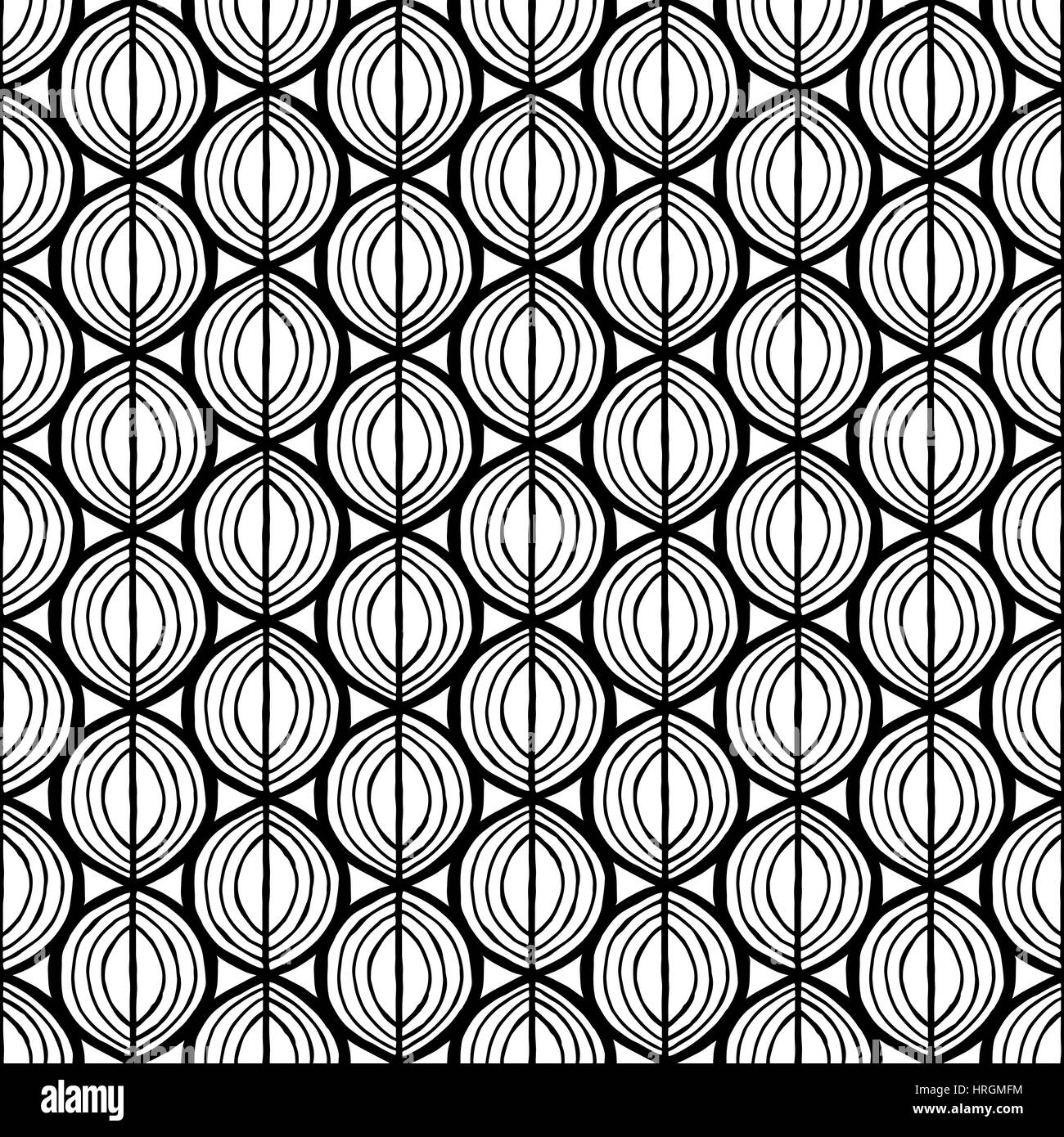 Primitive leaves, seamless floral pattern. Tribal ethnic background, simplistic geometry, black and white. Textile - Stock Image