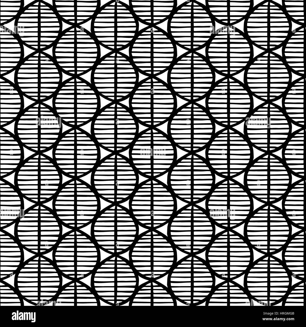 Primitive seamless floral pattern with leaves. Tribal ethnic background, simplistic geometry, black and white. Textile - Stock Image