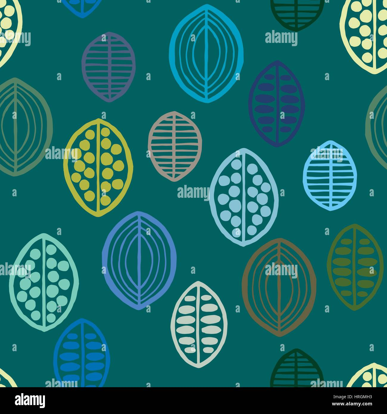 Seamless floral pattern with primitive leaves. Tribal ethnic background, blue and green tones. Textile design. - Stock Image