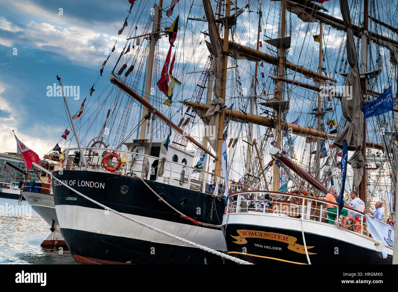The Pelican of London ship and the Morgenster Dutch Ship side by side at the Tall ship races Bergen, Norway. - Stock Image