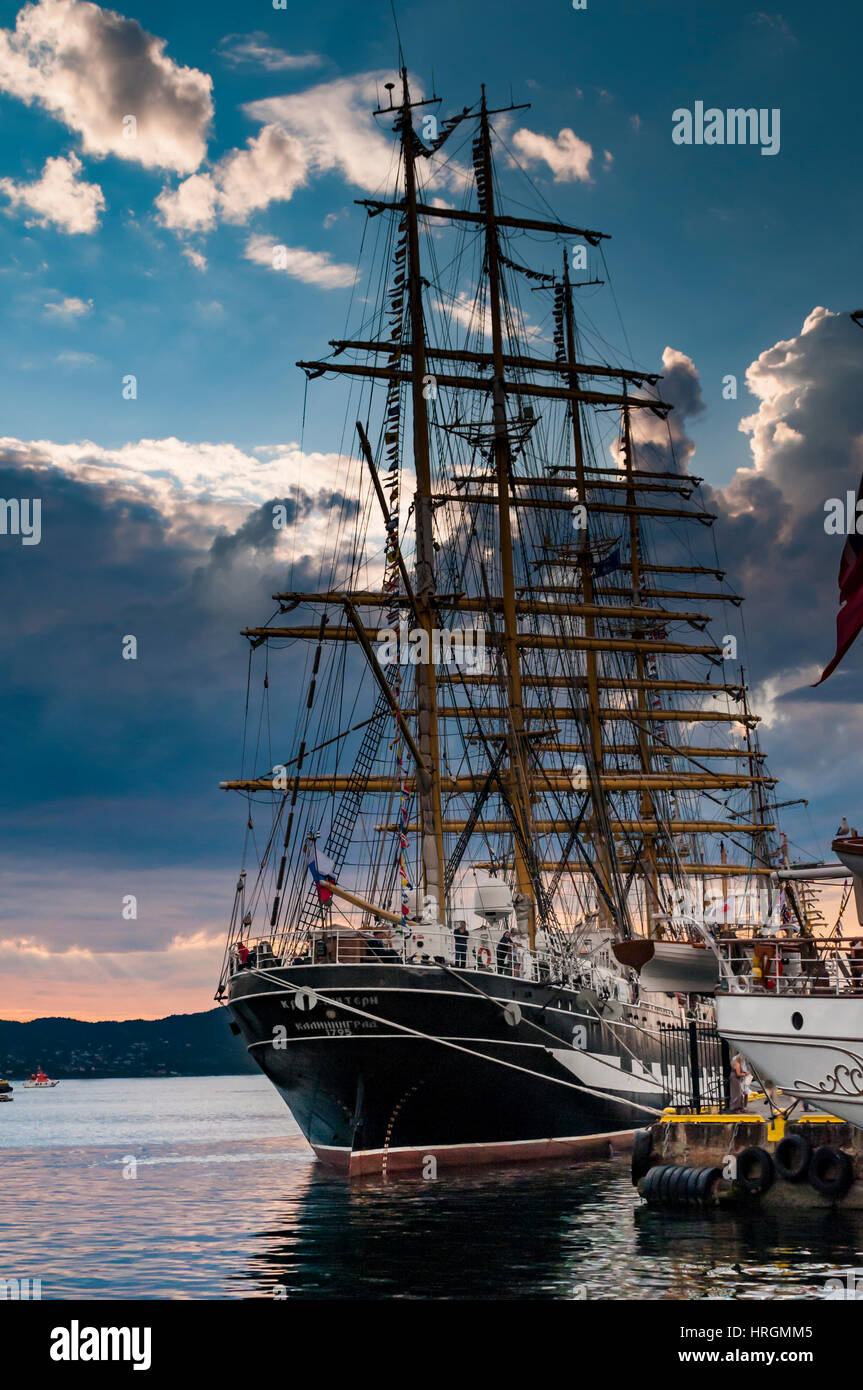 Russian Ship moored at Bryggen harbour - Bergen,Norway. The Tall ship races 2014 - Stock Image