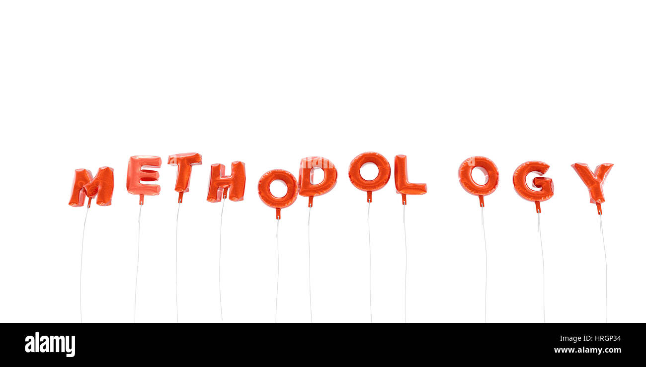METHODOLOGY - word made from red foil balloons - 3D rendered.  Can be used for an online banner ad or a print postcard. - Stock Image