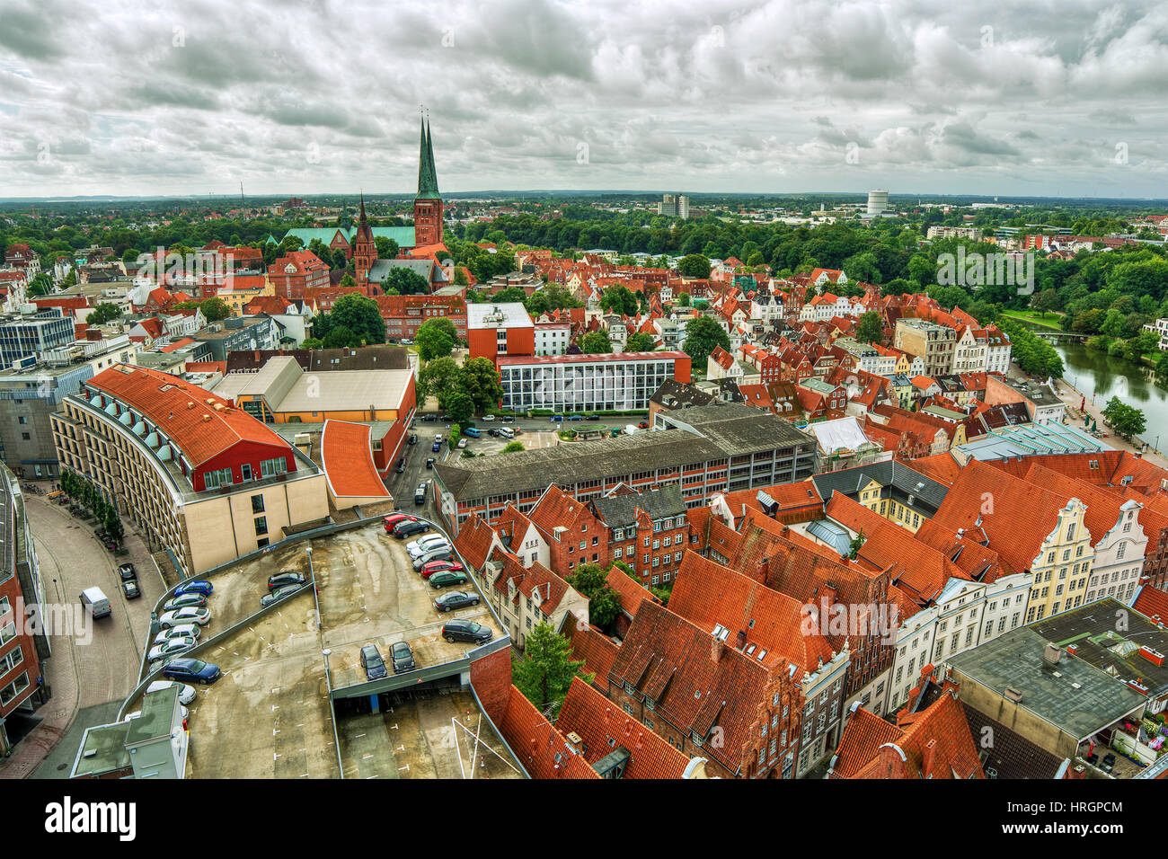 August 2016, cityscape of Lübeck (Germany), HDR-technique - Stock Image