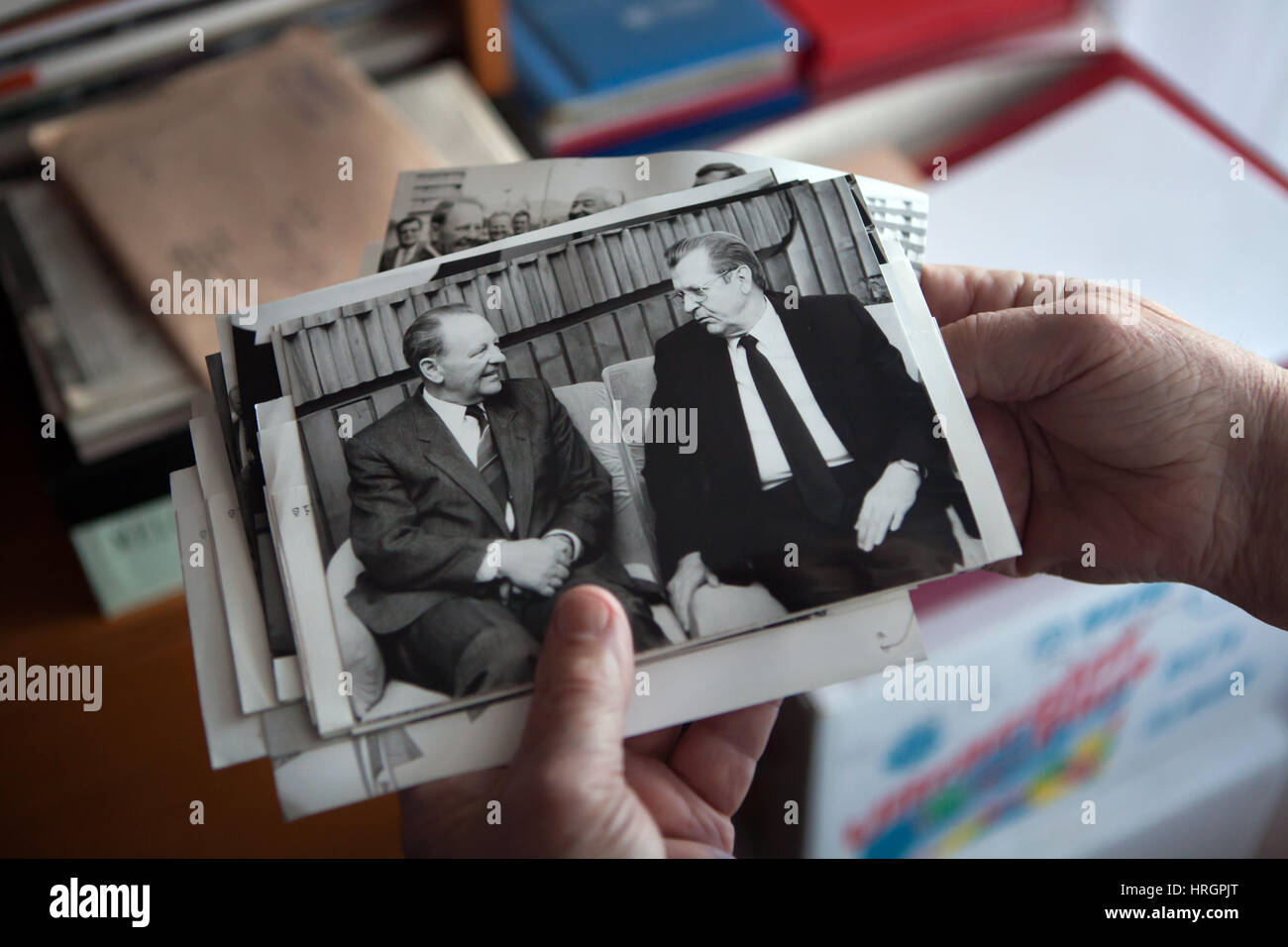 General Secretary of the Communist Party of Czechoslovakia Milos Jakes (L) meets Soviet communist functionary Vitaly - Stock Image