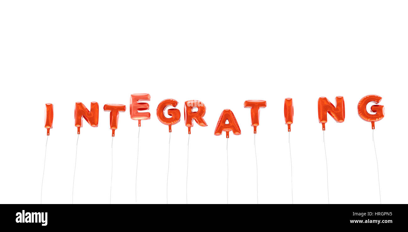 INTEGRATING - word made from red foil balloons - 3D rendered.  Can be used for an online banner ad or a print postcard. - Stock Image