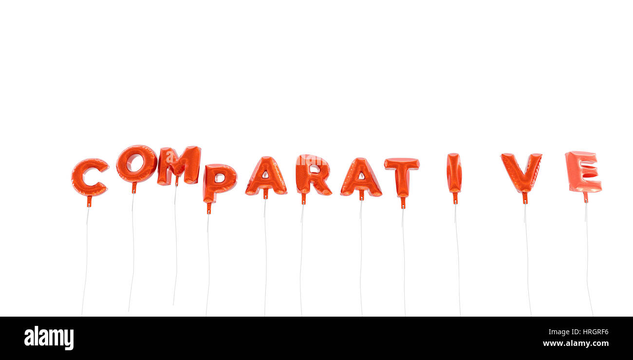 COMPARATIVE - word made from red foil balloons - 3D rendered.  Can be used for an online banner ad or a print postcard. - Stock Image