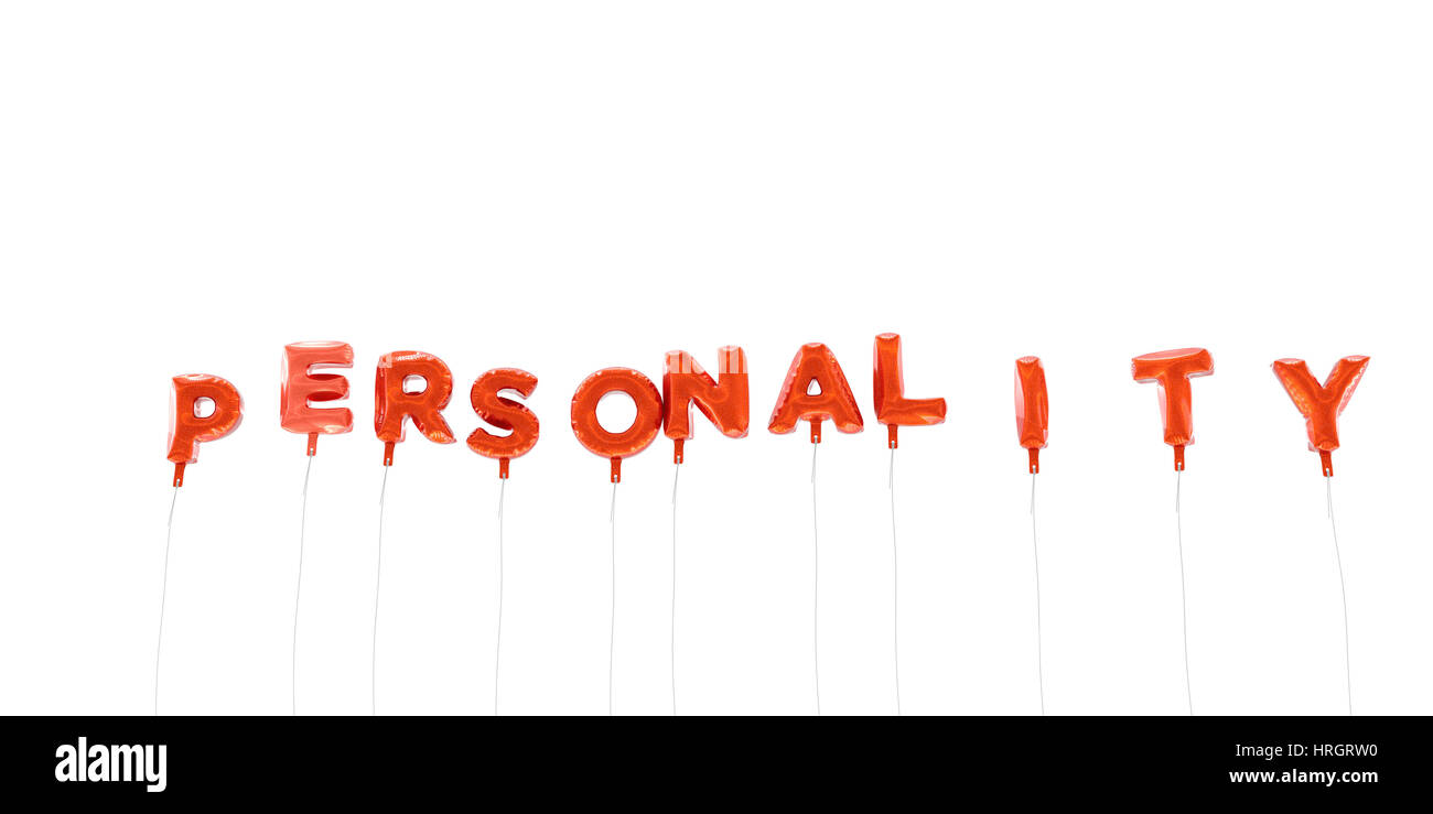 PERSONALITY - word made from red foil balloons - 3D rendered.  Can be used for an online banner ad or a print postcard. - Stock Image