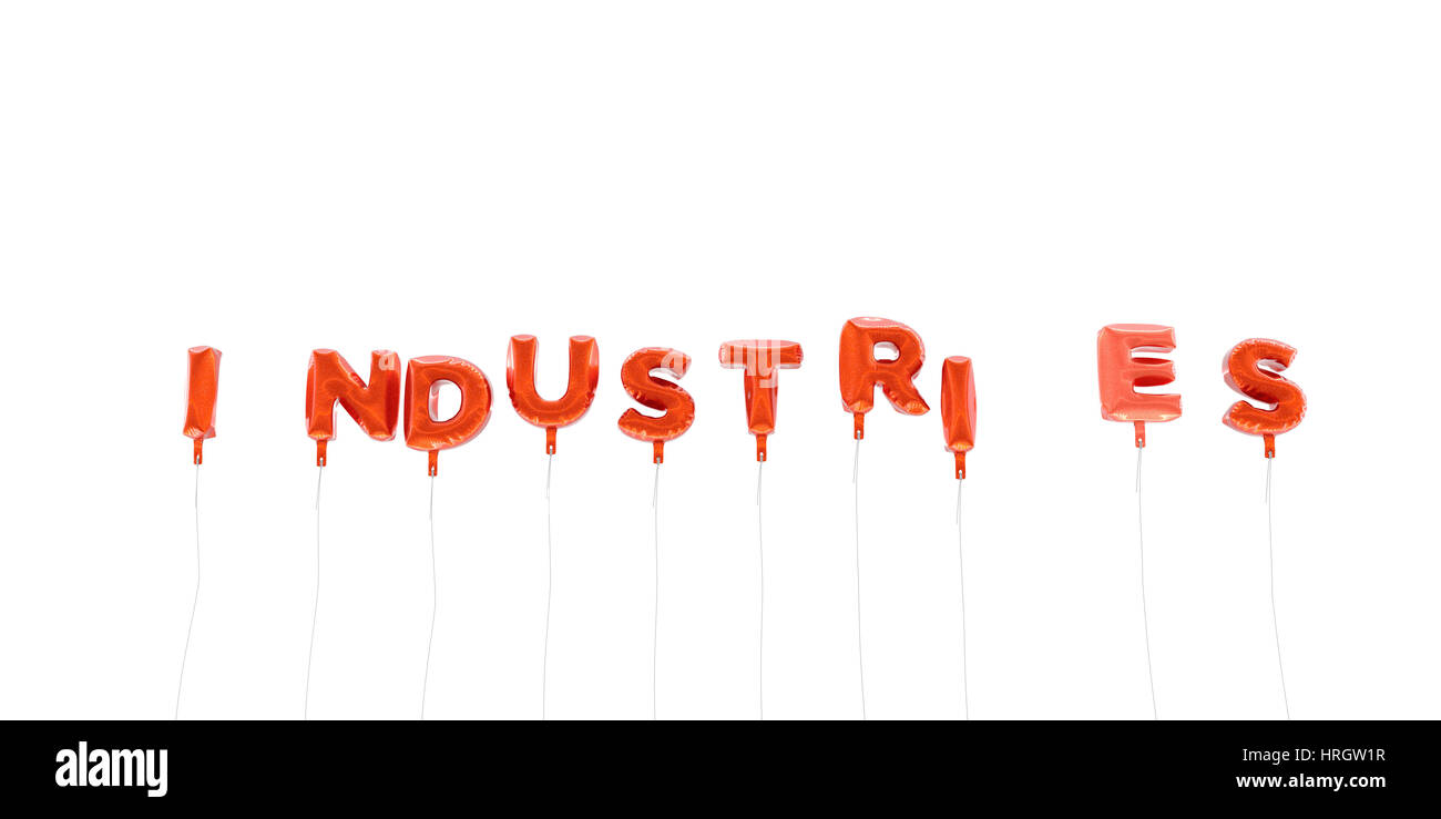 INDUSTRIES - word made from red foil balloons - 3D rendered.  Can be used for an online banner ad or a print postcard. - Stock Image