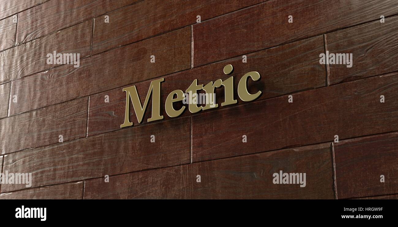 Metric - Bronze plaque mounted on maple wood wall  - 3D rendered royalty free stock picture. This image can be used - Stock Image