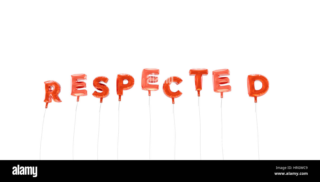 RESPECTED - word made from red foil balloons - 3D rendered.  Can be used for an online banner ad or a print postcard. - Stock Image
