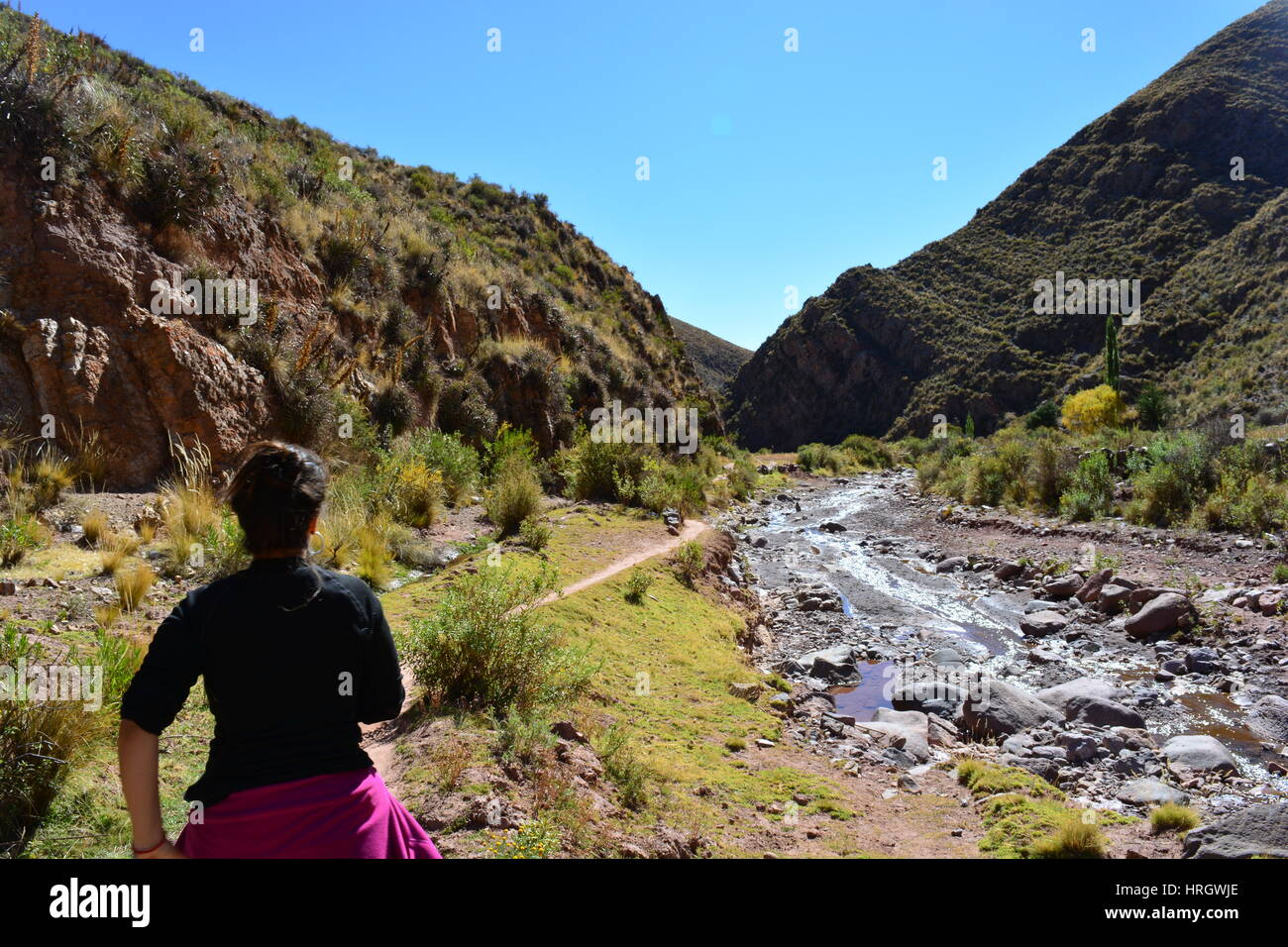 Backpacker woman hiking in the beautiful landscape of the Andes Mountain Range in the region of Macha, Potosí, - Stock Image