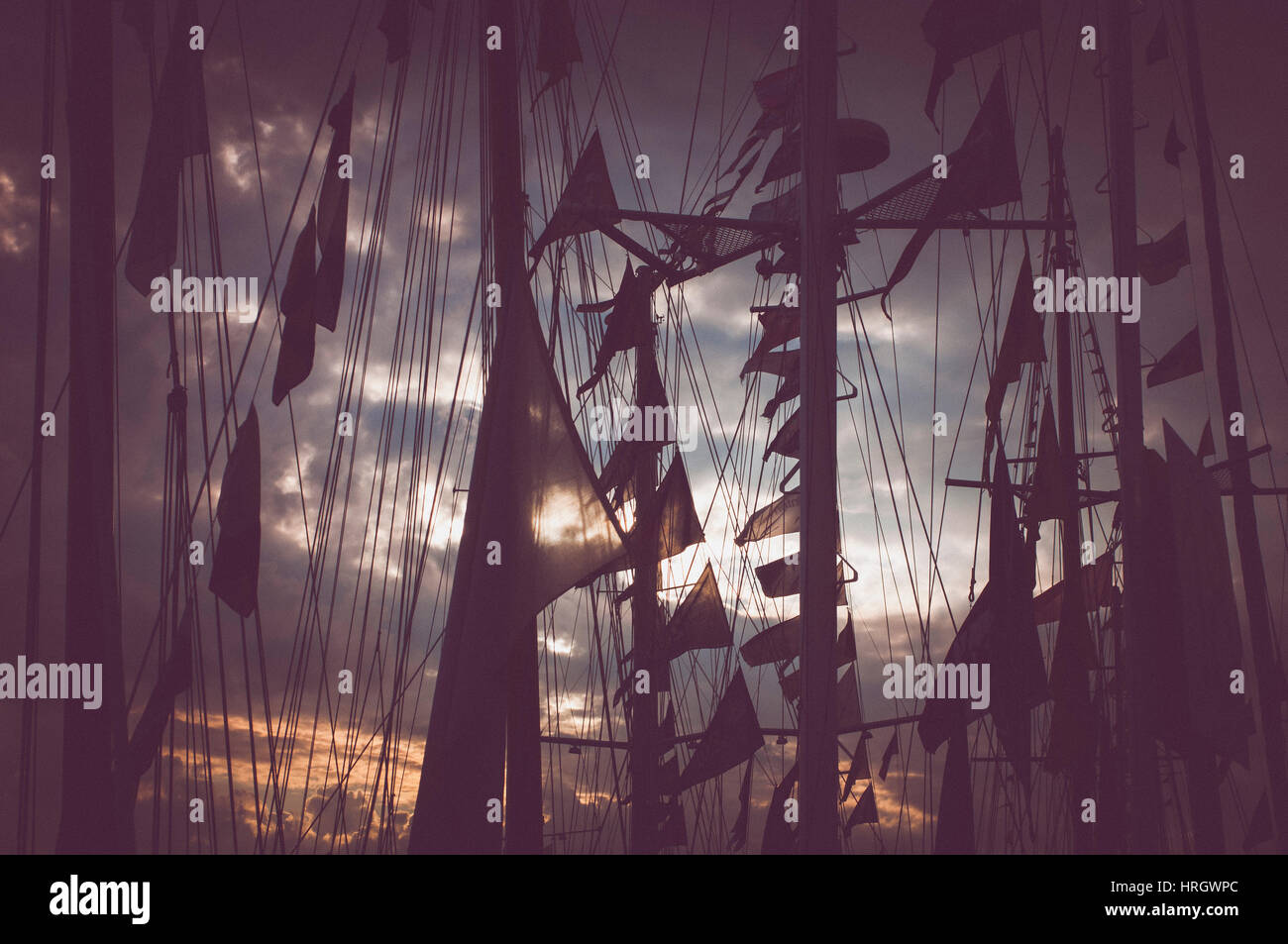 Silhouettes of boat flags against the sunset. Tall Ship Races 2014 - Bergen, Norway. - Stock Image