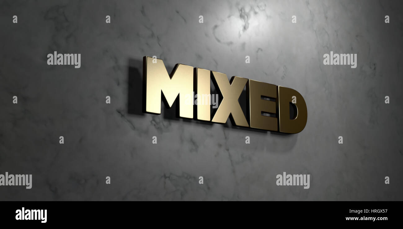 Mixed - Gold sign mounted on glossy marble wall  - 3D rendered royalty free stock illustration. This image can be Stock Photo