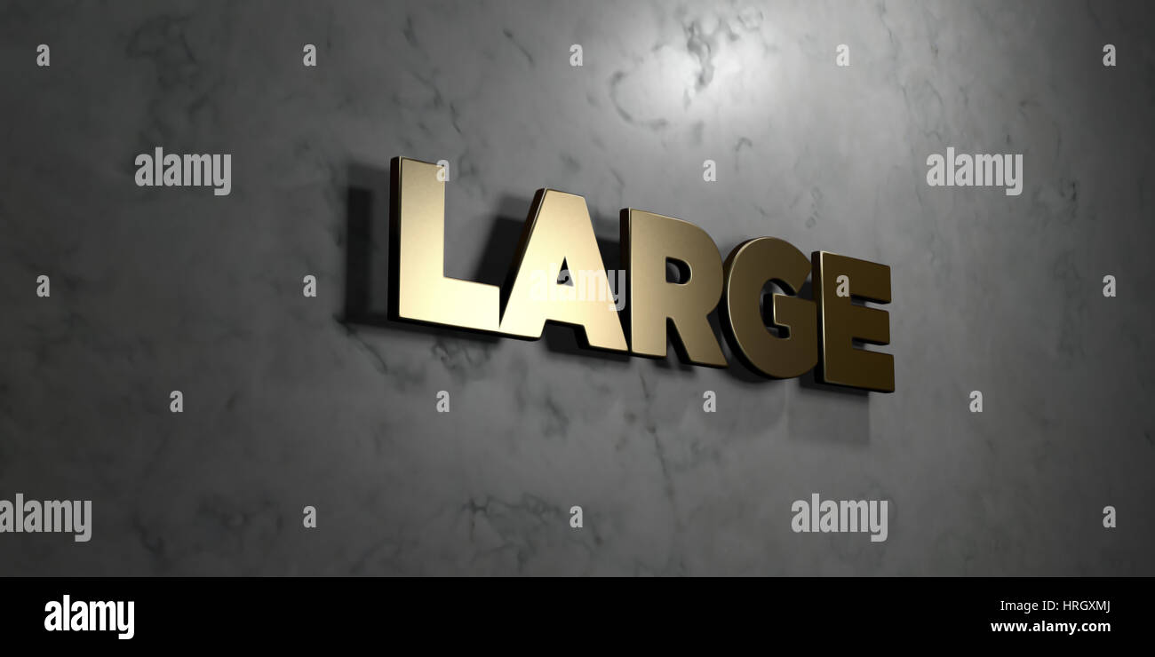 Large - Gold sign mounted on glossy marble wall  - 3D rendered royalty free stock illustration. This image can be - Stock Image