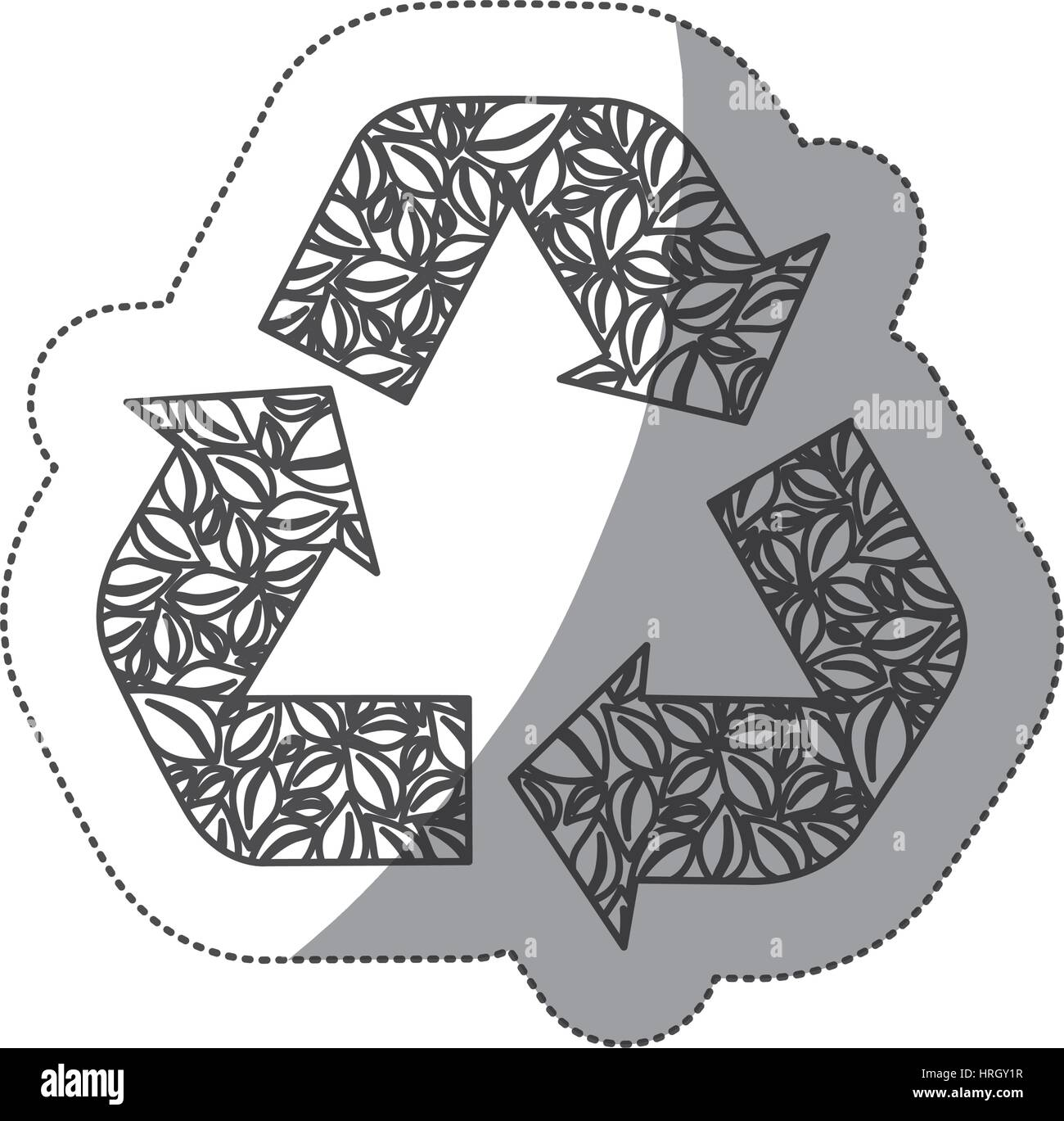 silhouette symbol reuse, reduce and recycle icon - Stock Image