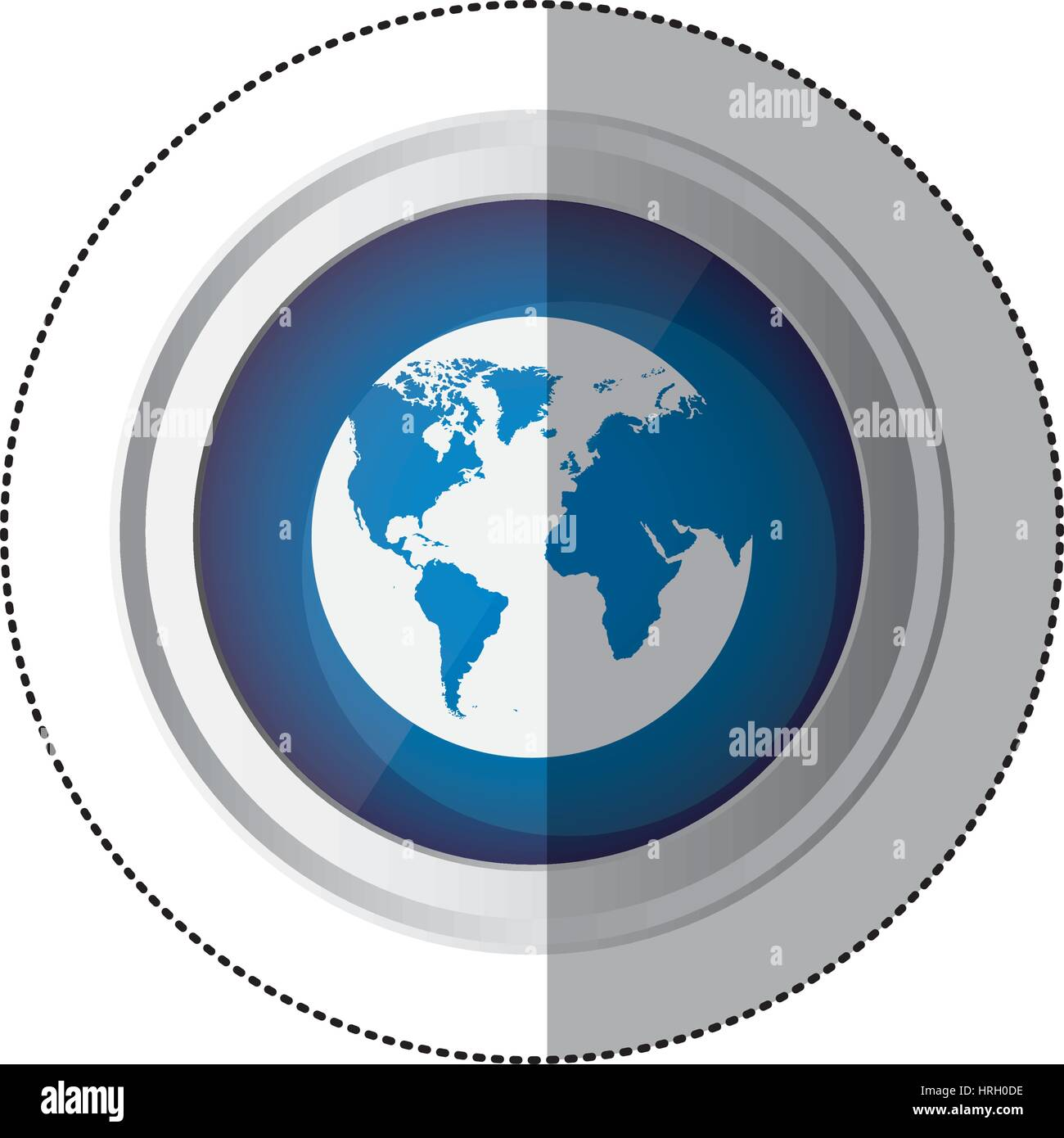 Sticker blue circular button with silhouette globe earth world map sticker blue circular button with silhouette globe earth world map gumiabroncs Images
