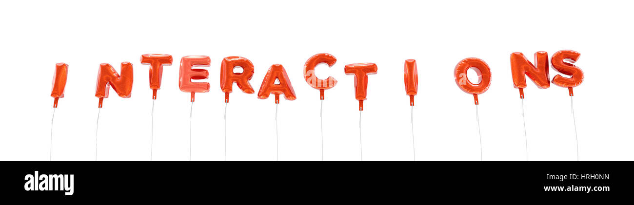 INTERACTIONS - word made from red foil balloons - 3D rendered.  Can be used for an online banner ad or a print postcard. - Stock Image