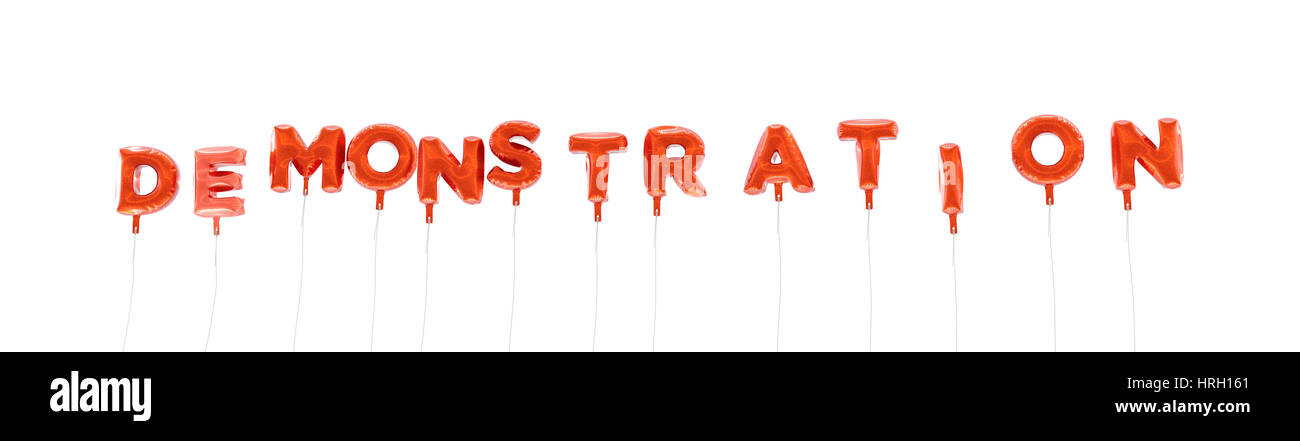DEMONSTRATION - word made from red foil balloons - 3D rendered.  Can be used for an online banner ad or a print Stock Photo