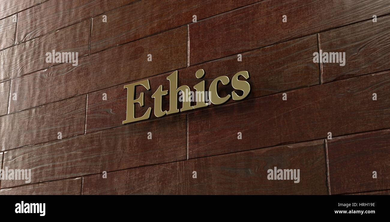Ethics - Bronze plaque mounted on maple wood wall  - 3D rendered royalty free stock picture. This image can be used - Stock Image