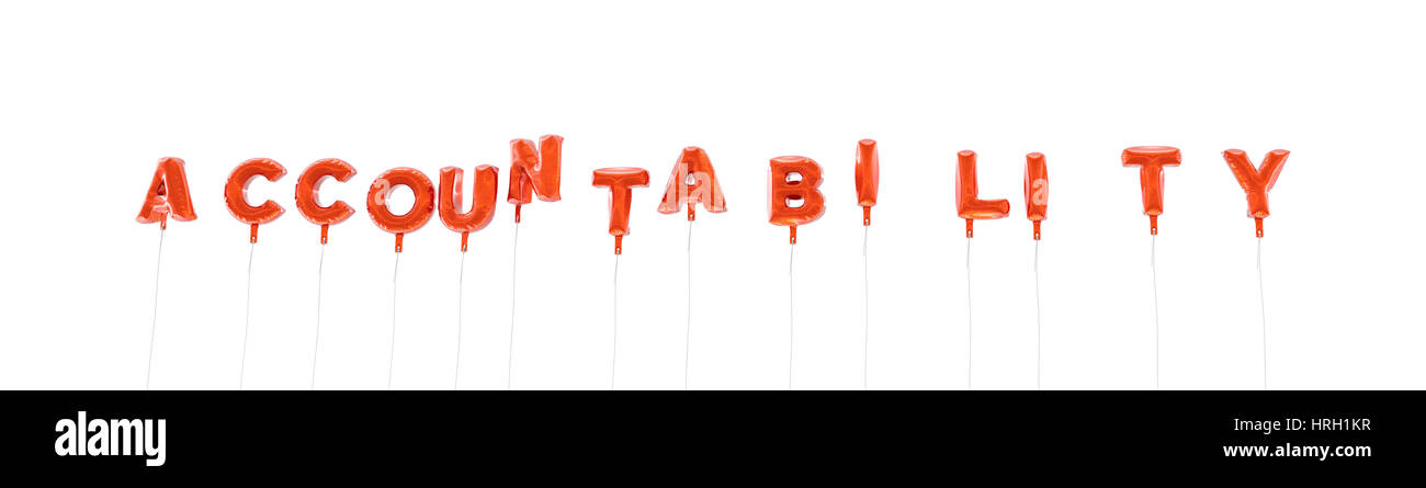 ACCOUNTABILITY - word made from red foil balloons - 3D rendered.  Can be used for an online banner ad or a print - Stock Image
