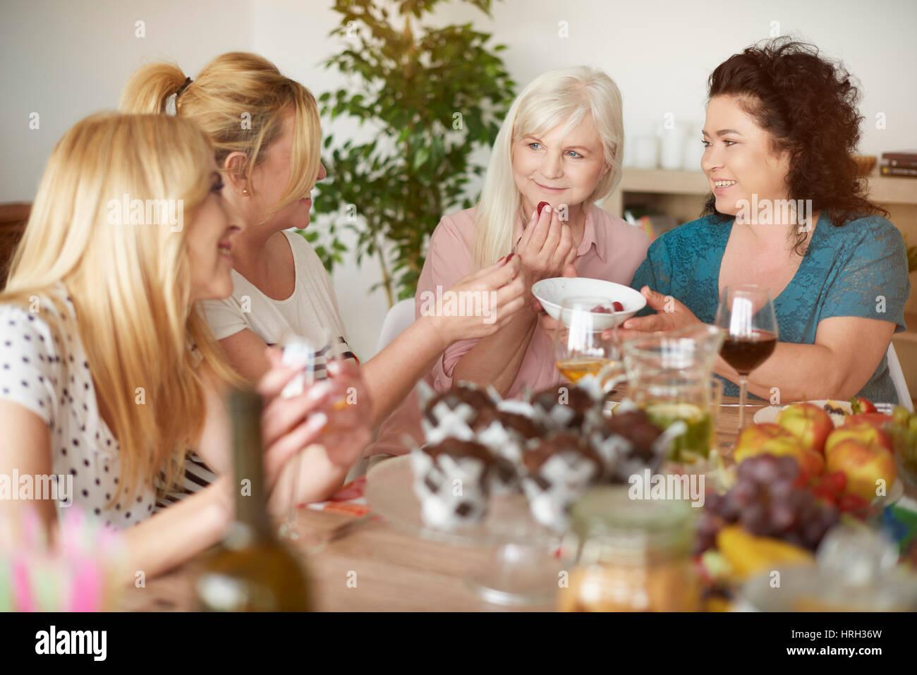 Good food and good moods - Stock Image