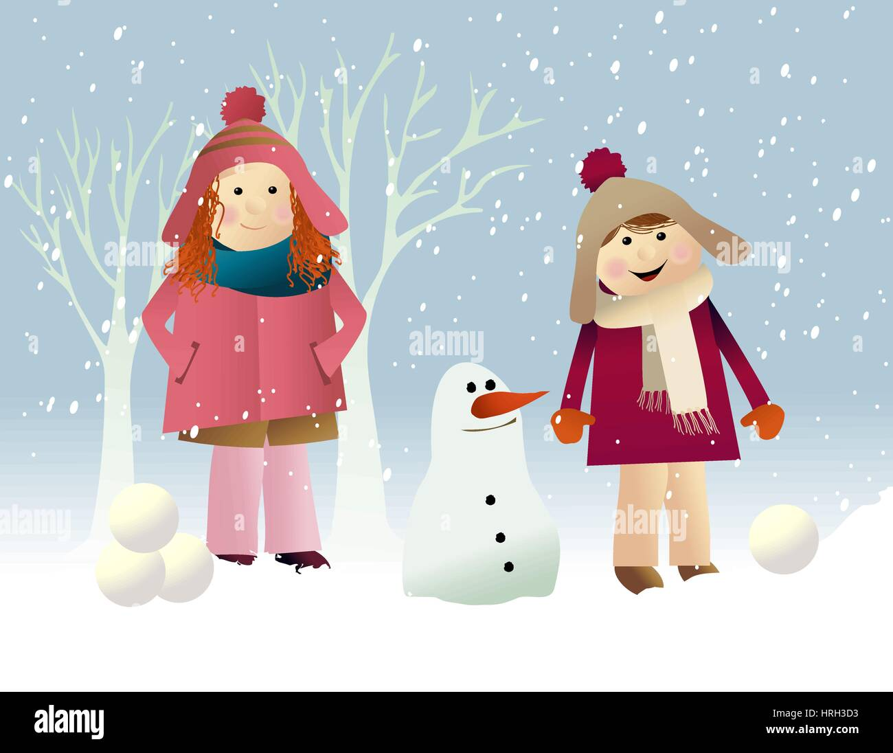 Winter background with playing kids Stock Vector Art & Illustration ...