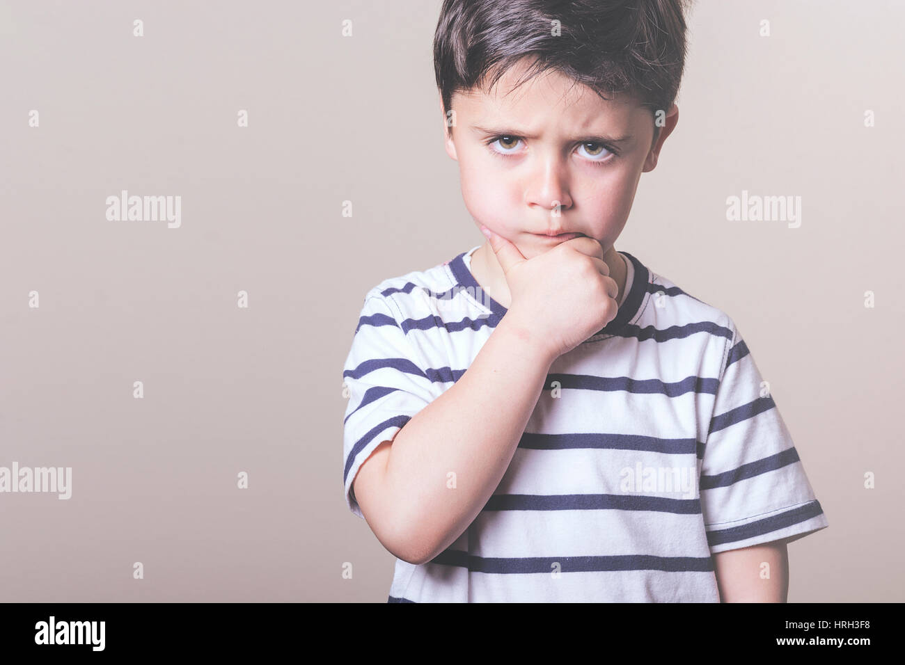 closeup of angry child - Stock Image