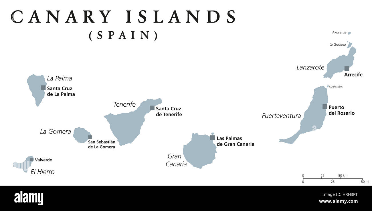 Canary Islands political map with capitals Las Palmas and Santa Cruz