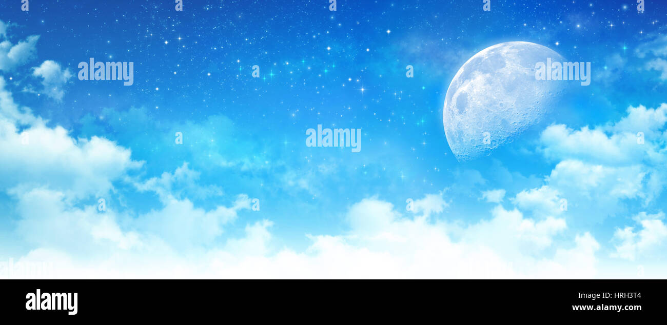 Blue sky background, moon light in white clouds, bright stars
