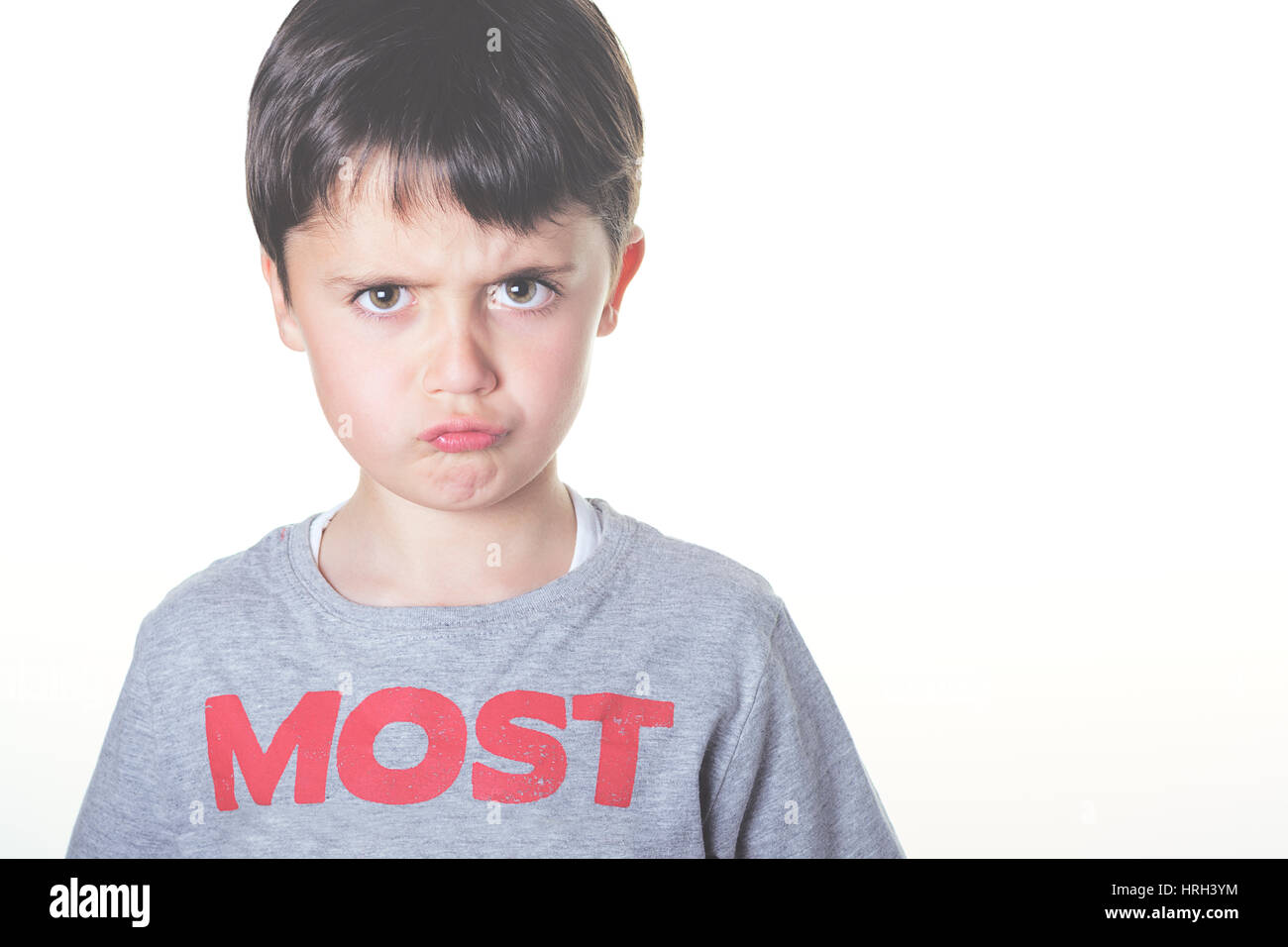 closeup of angry child Stock Photo