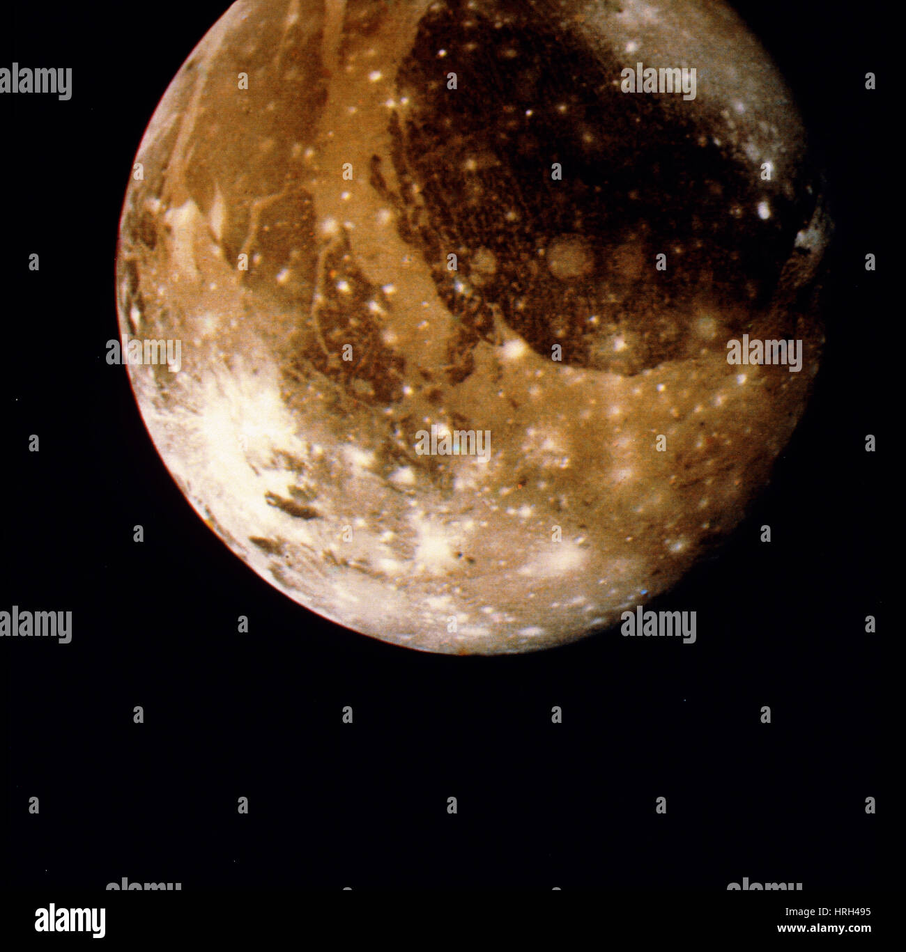 Ganymede, Moon of Jupiter, Voyager 2 Image - Stock Image