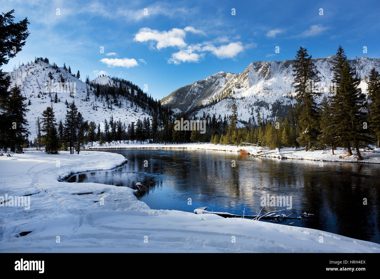 Yellowstone River, Winter, Yellowstone National Park - Stock Image