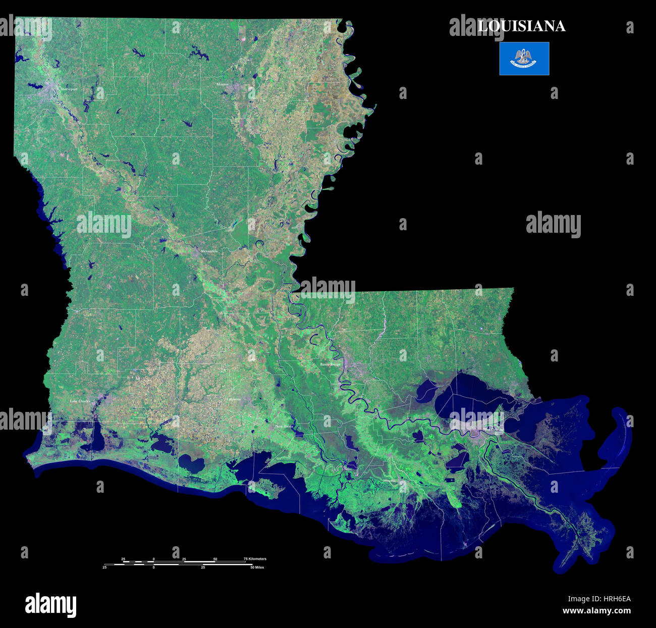 Map Satellite Geography Louisiana Stock Photos Map Satellite