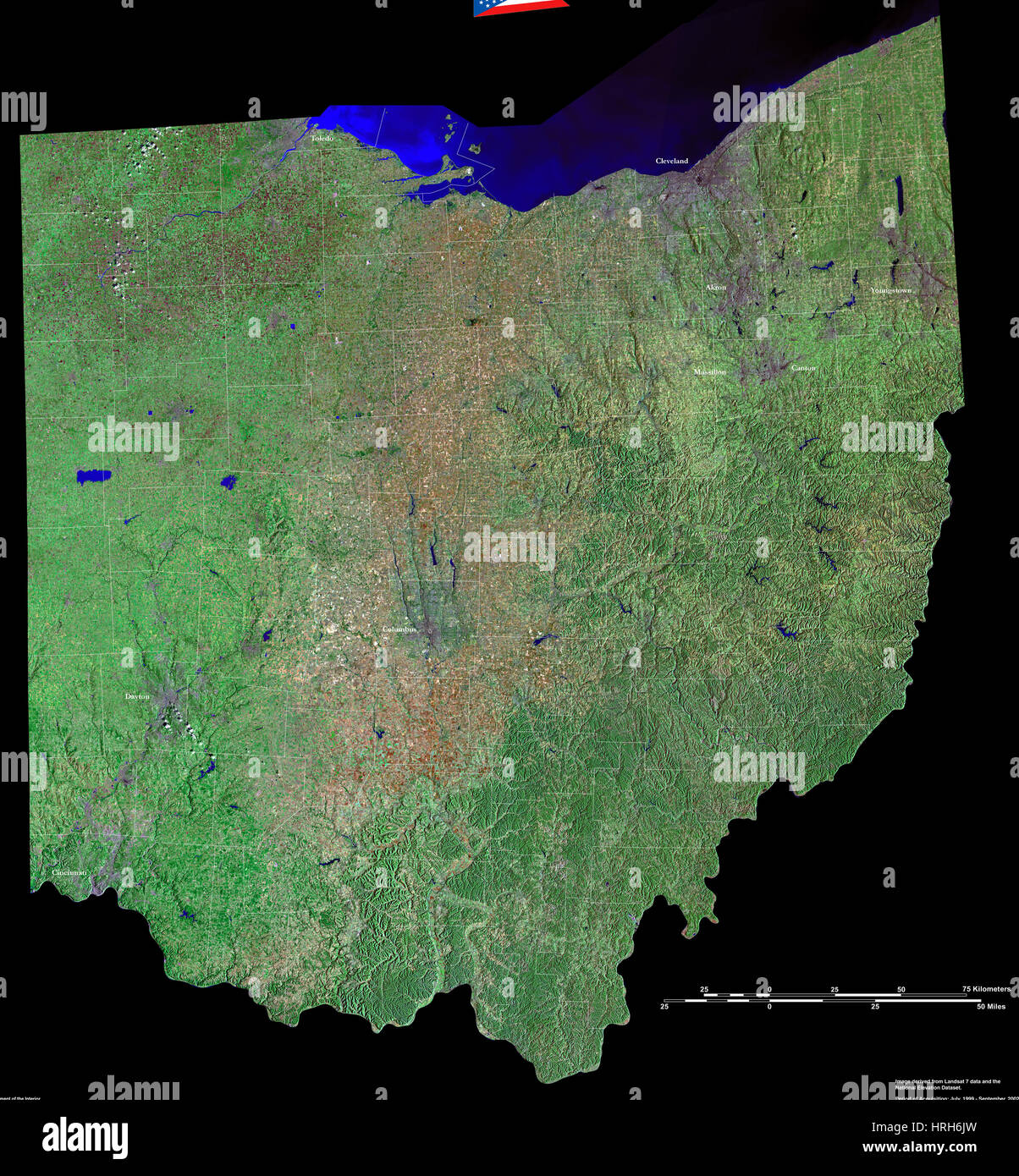 Geography Map Of Ohio.Map Satellite Geography Ohio Stock Photos Map Satellite Geography