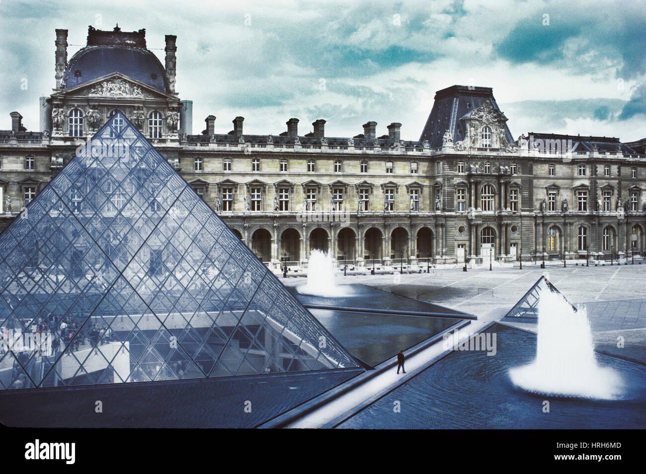 Man, Walking, Louvre, Paris, France - Stock Image
