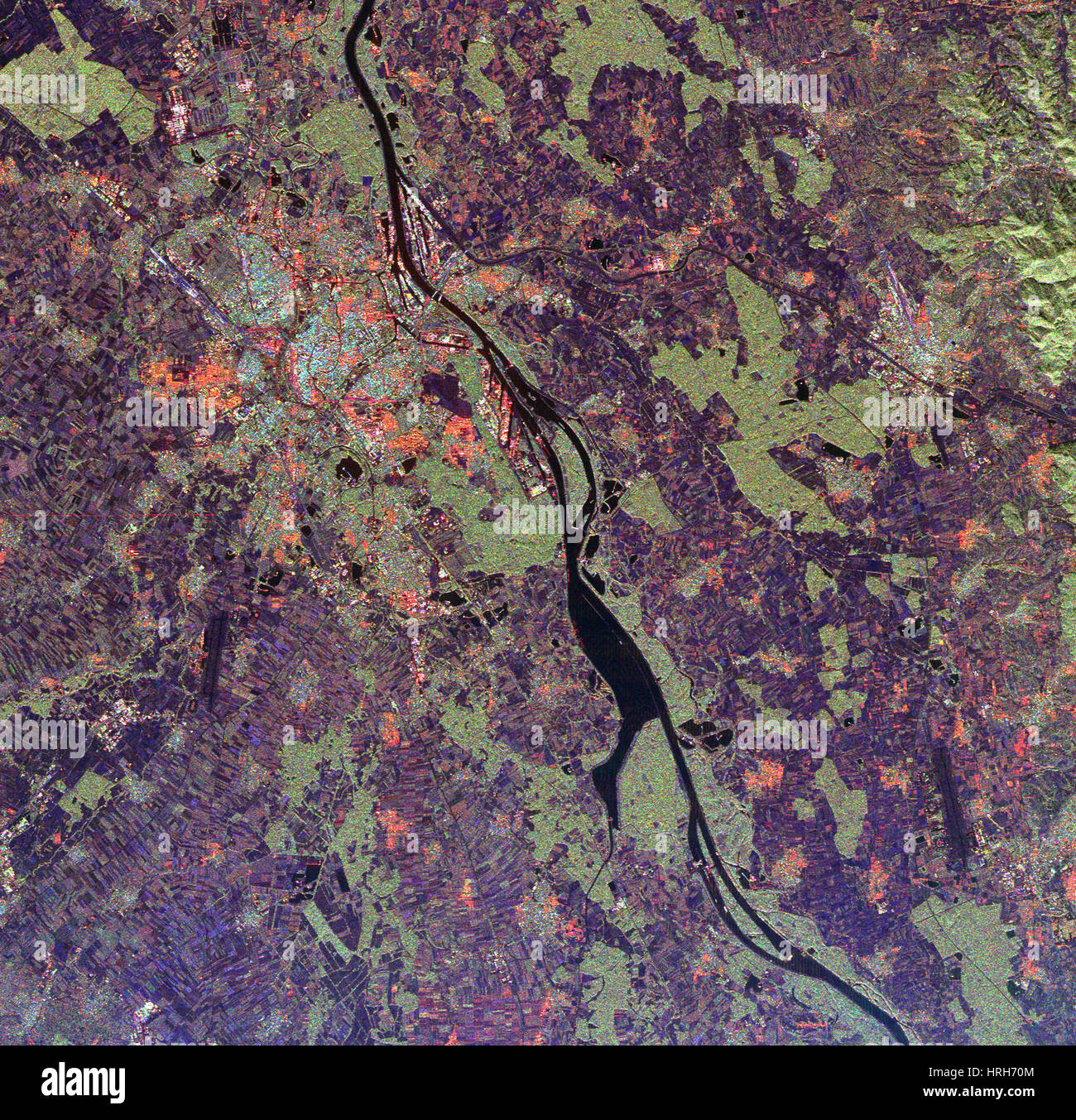 Rhine River Valley, SIR-C/X-SAR Image - Stock Image
