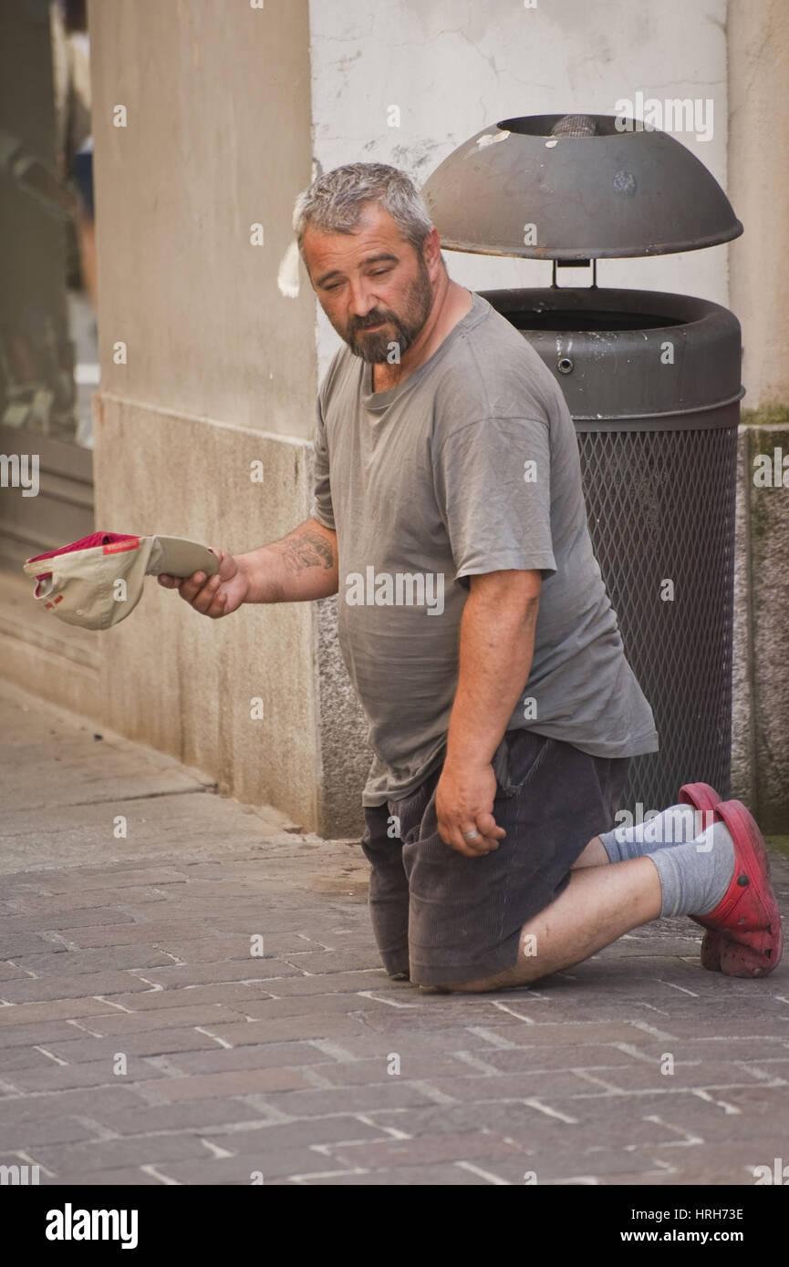 Bettler, Italien - beggar, Italy Stock Photo