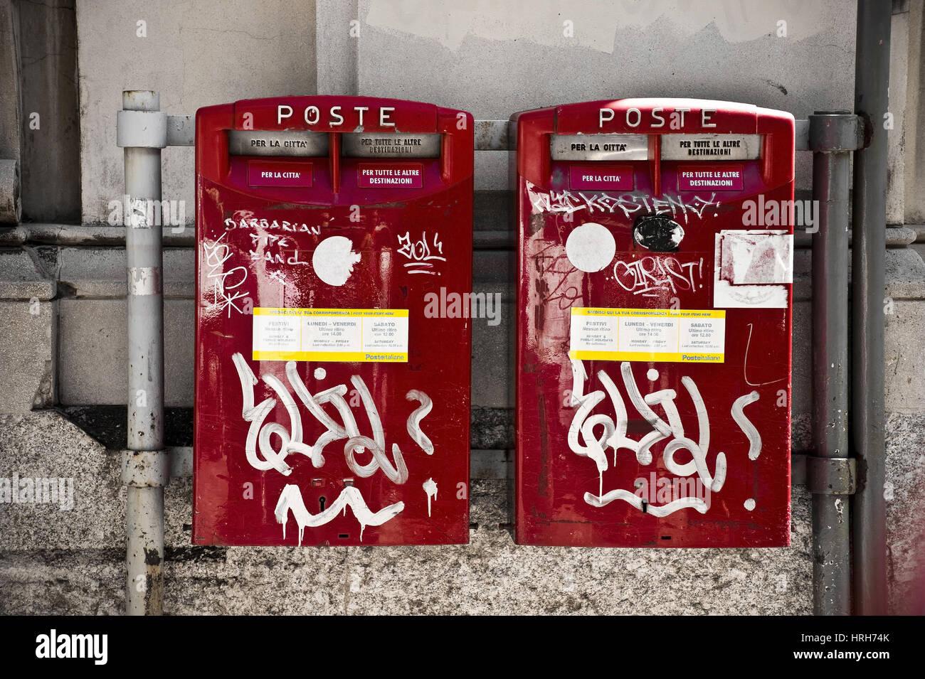 Postkaesten, Italien - post boxes, Italy Stock Photo