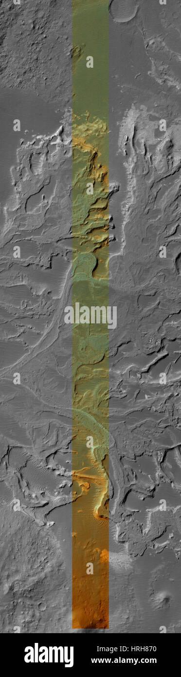 West Eberswalde Crater, Mars - Stock Image