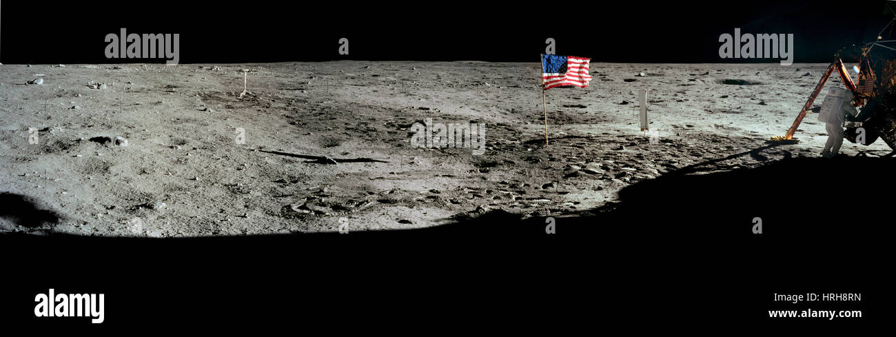 Neil Armstrong on moon Stock Photo