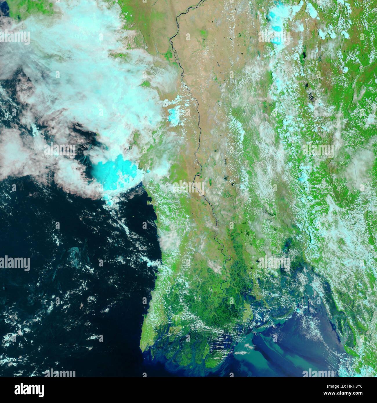 Cyclone Nargis, After Landfall, MODIS Image - Stock Image