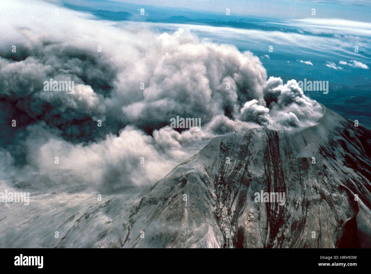 Day after eruption of Mount St. Helens - Stock Image