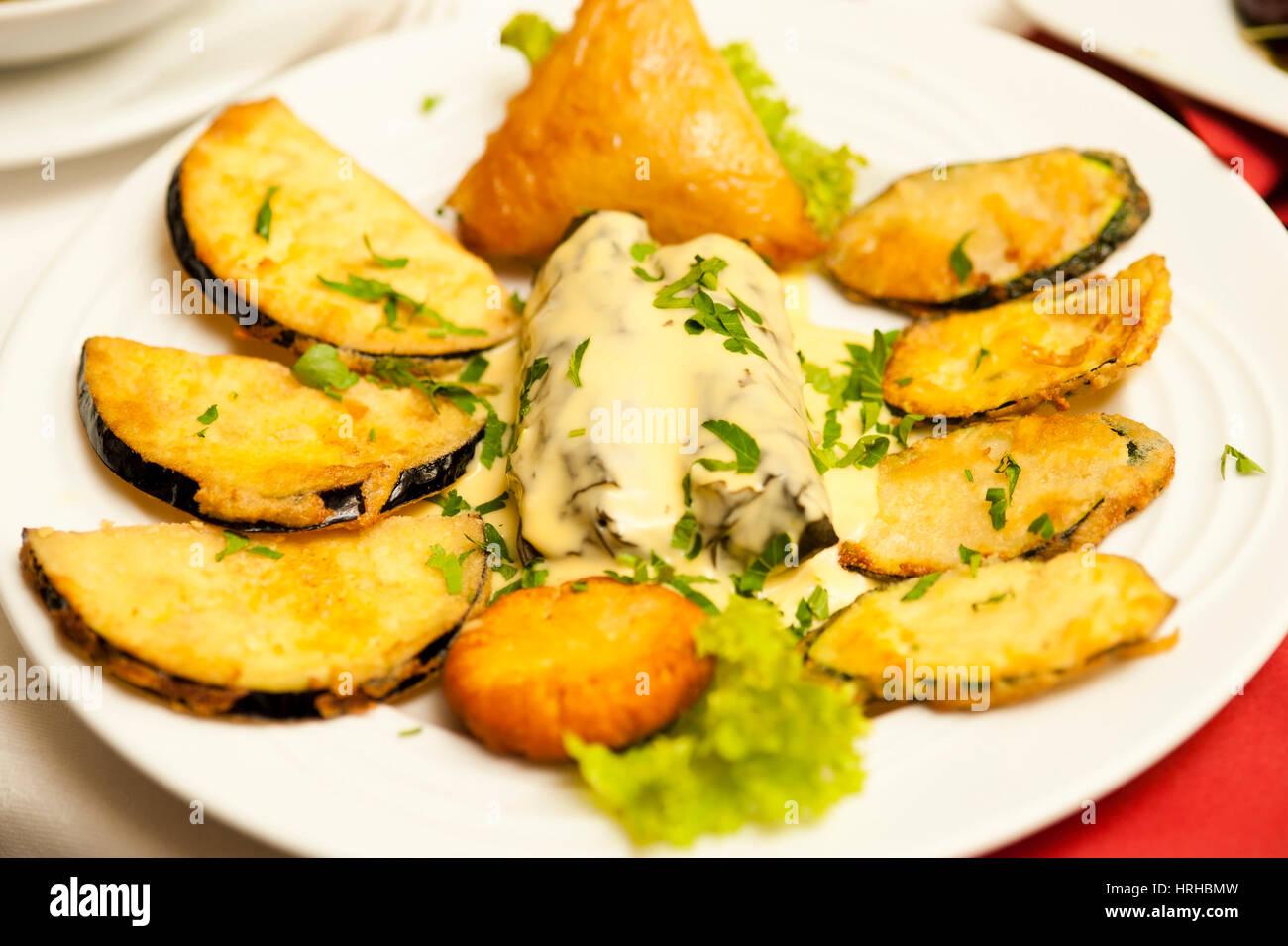 ‹berbackene Auberginen - gratinated aubergines - Stock Image