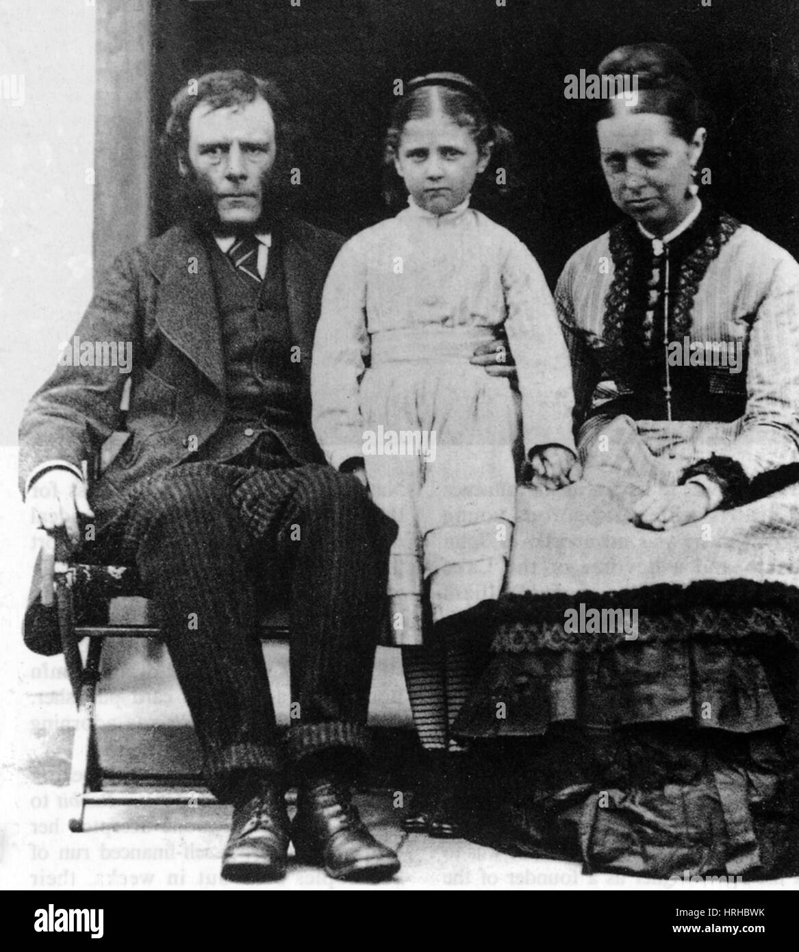 Young Beatrix Potter with Her Parents, 1877 - Stock Image